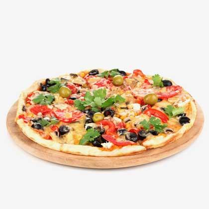 Pizza sauce tomate et sauce crème fraiche
